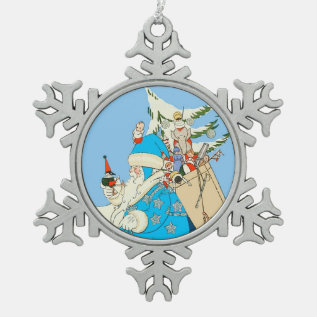 Vintage Blue Santa With Christmas Toys Snowflake Pewter Christmas Ornament at Zazzle