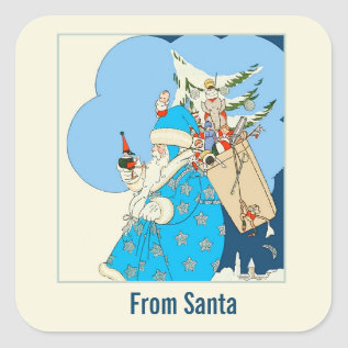 Vintage Blue Santa With Christmas Toys Square Sticker at Zazzle
