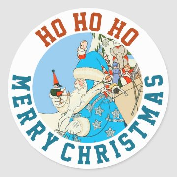Vintage Blue Santa with Christmas Toys Round Stickers at Zazzle
