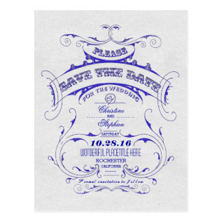 Vintage blue save the date postcard