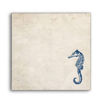 Beach Themed Vintage Blue Sea Horse Beach Envelope