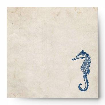 Beach Themed Vintage Blue Sea Horse Beach Envelope