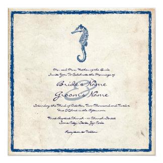 Vintage Blue Sea Horse Beach Wedding Invitation