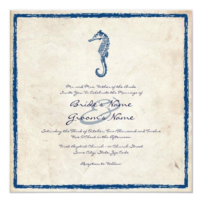 Vintage Beach Wedding Invitations: Vintage Blue Sea Horse Beach Wedding Invitation
