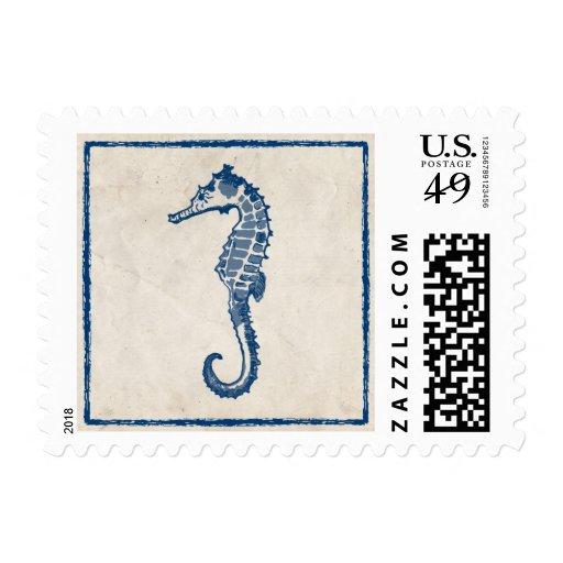 Vintage Blue Sea Horse Stamp