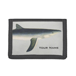 Vintage Blue Shark, Aquatic Ocean Marine Life Trifold Wallet
