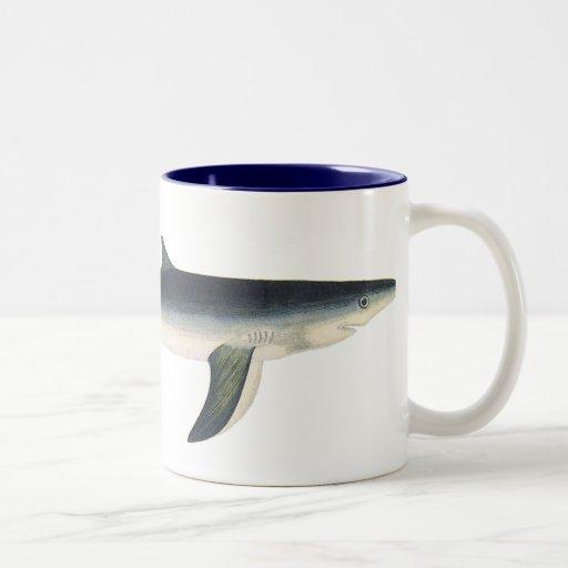 Vintage Blue Shark, Marine Aquatic Ocean Life Two-Tone Coffee Mug