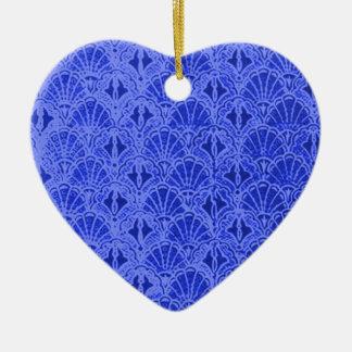 Vintage Blue Shells Heart Ornament