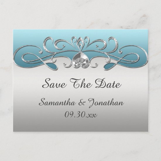 Vintage Blue Silver Ornate Swirls Save The Date Announcement Postcard