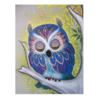 Vintage Blue Sleeping Owl Postcard