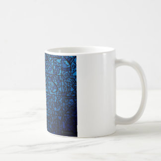 VINTAGE BLUE STAINED GLASS DESIGN COFFEE MUG