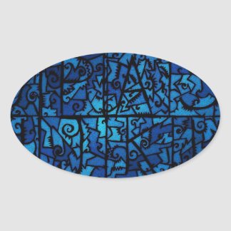 VINTAGE BLUE STAINED GLASS DESIGN OVAL STICKER