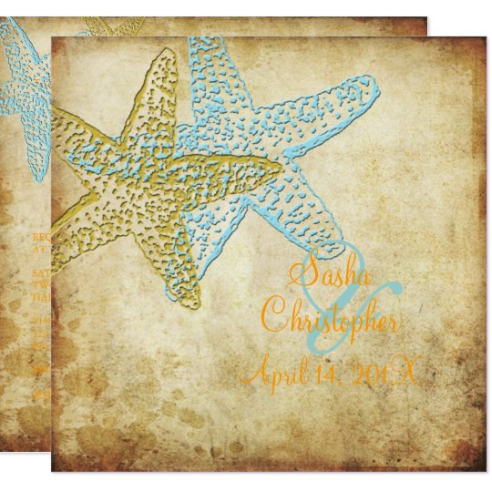 VINTAGE BLUE STARFISH WEDDING INVITATIONS