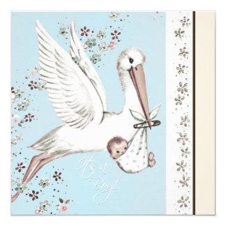 Vintage Blue Stork Baby Shower Invitation