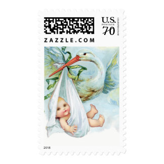 Vintage Blue Stork Baby Shower Postage Stamps