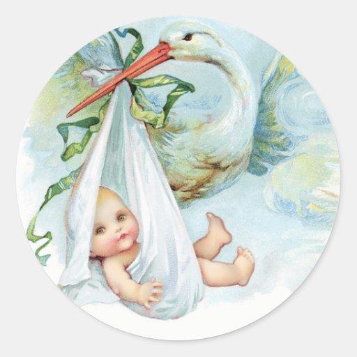 Vintage blue stork baby shower stickers zazzle for Baby shower stork decoration