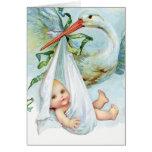 Vintage Blue Stork Thank You Cards