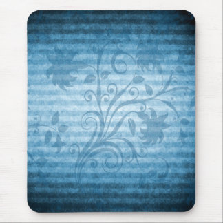 Vintage Blue Striped Floral Wallpaper Mouse Pad