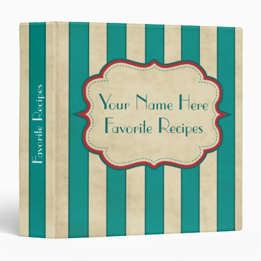 Vintage Blue Striped Personalized Recipe Binder