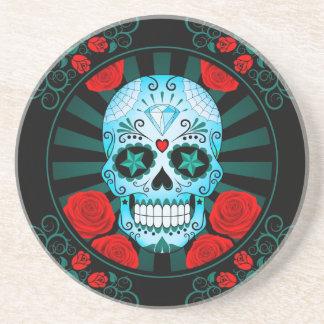 Vintage Blue Sugar Skull with Roses Poster Beverage Coaster