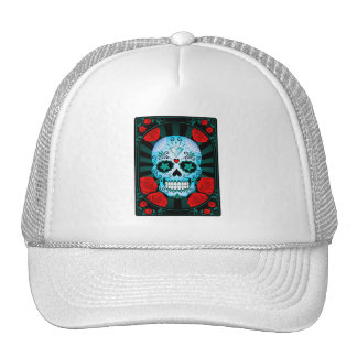 Vintage Blue Sugar Skull with Roses Poster Mesh Hats