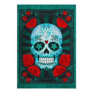 Vintage Blue Sugar Skull with Roses Poster Personalized Invitation
