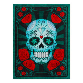 Vintage Blue Sugar Skull with Roses Poster Postcard