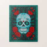 Vintage Blue Sugar Skull with Roses Poster Puzzle