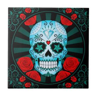 Vintage Blue Sugar Skull with Roses Poster Ceramic Tile