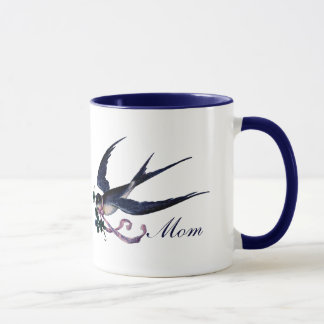 Vintage Blue Swallow Bird Mom Mug