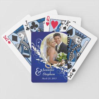 Vintage Blue Swirl Wedding Photo Playing Cards