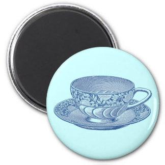 Vintage Blue Tea Cup Magnet Fridge Magnets