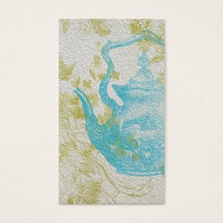 Vintage Blue Tea Pot Flowers Business Card