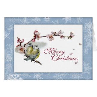 Vintage blue tits Christmas card