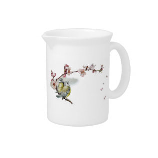 Vintage Blue Tits Drink Pitcher at Zazzle