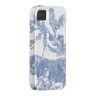 Vintage Blue Toile pattern - Cow & Roster Vibe iPhone 4 Cases