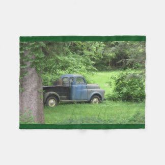 Vintage Blue Truck Fleece Blanket