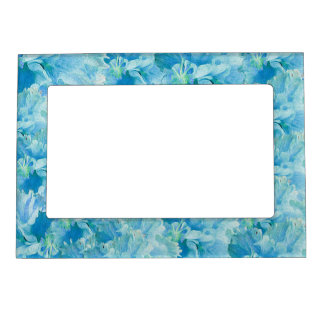Vintage Blue Turquoise Flowers Magnetic Photo Frame