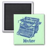 Vintage Blue Typewriter 2 Inch Square Magnet