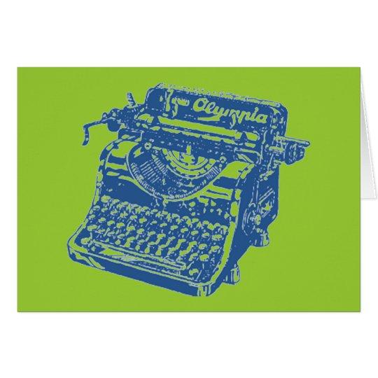 Vintage Blue Typewriter Card