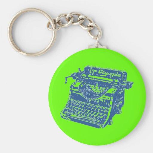Vintage Blue Typewriter Key Chains