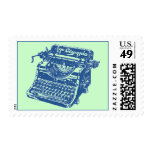 Vintage Blue Typewriter Postage Stamp