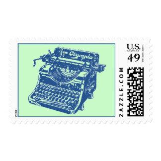 Vintage Blue Typewriter Stamp