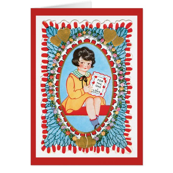 Vintage Blue Valentine Wirh Little Girl Card