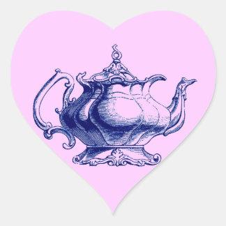 Vintage Blue Victorian Teapot Design Tea Lover Heart Stickers
