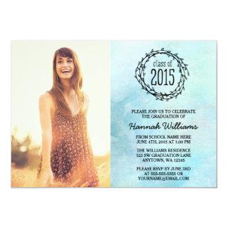 Vintage Blue Vines 2015 Photo Graduation 5x7 Paper Invitation Card