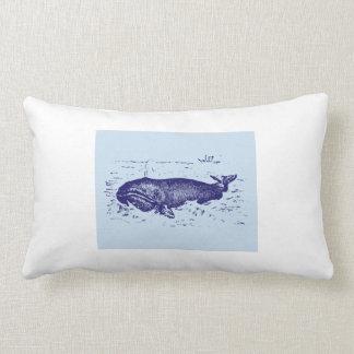 Vintage Blue Whale Design Throw Pillow