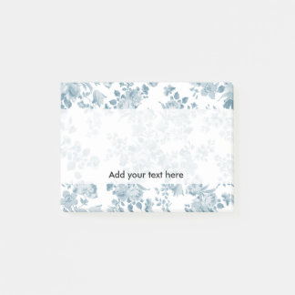 Vintage blue white bohemian elegant floral post-it notes