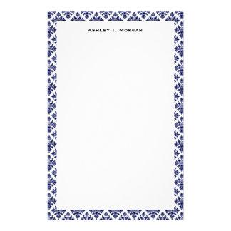 Vintage Blue White Damask #3 Framed Personalized Stationery