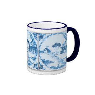 Vintage Blue White Delft Windmill Coffee Mug
